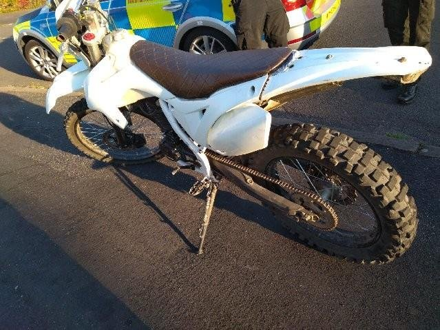 Police seized the bike after the rider was spotted on Mansfield's Ravensdale estate. Photo: Nottinghamshire Police.