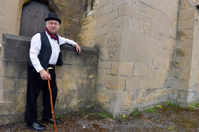 Church warden Lyndon Shearman standing next to the stone which was laid at St Mark's Church in Mansfield 125 years ago this month.