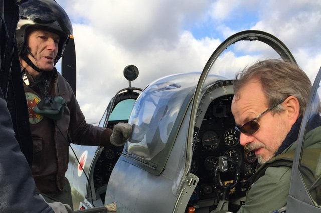 Flying enthusiast Graham Oliver, right, is restoring a Spitfire brought down in the Second World War at Biggin Hill.
