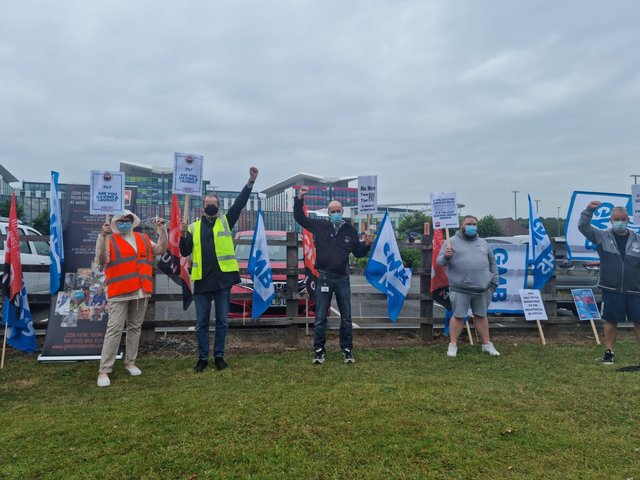 Solidarity as hospital healthcare workers, domestics, porters and caterers come together for GMB protest
