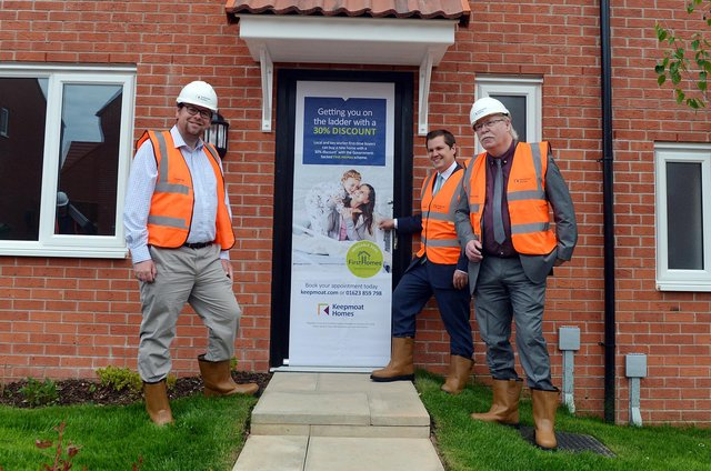 The Secretary of State for Housing RT Hon Robert Jenrick MP visited Shirebrookon Friday  to mark the launch of the Government''s First Homes scheme. Pictured is Mr Jenrick with MP Mark Fletcher and the leader of Bolsover District Council Coun Steve Fritchley.
