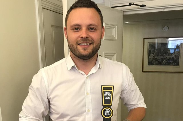 Mansfield MP Ben Bradley received a 'Beer Champion' award in recognition of his support for the Long Live the Local campaign in 2019.