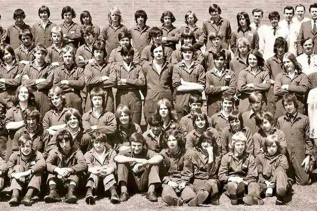 Part of the photo of all the EMEB apprentices in 1971, featuring on the front row, Billy Parkes (third left), John Clark (fourth left) and Tim Brothwell (third right), plus on the third row from the front, Clive Wells (second right).