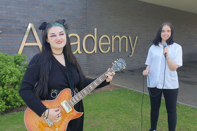 Shirebrook Academy students Kelsey Hind (left) and Gracie Dexter are looking to turn their passion for music into a career after winning places at Confetti Institute of Creative Technologies in Nottingham