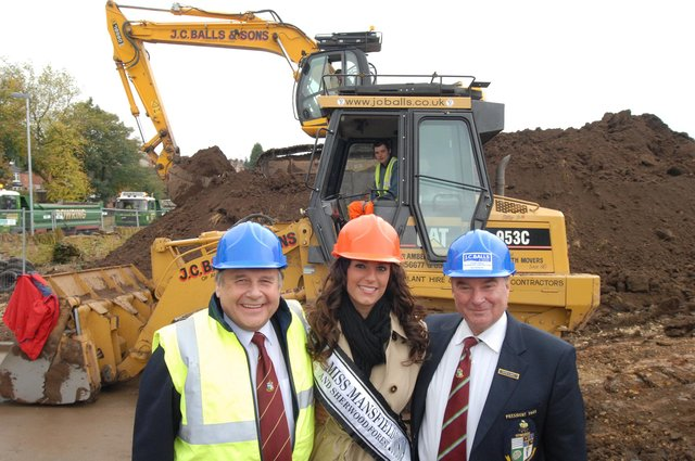Miss Mansfield and Sherwood Forest Jane Hatfield pictured with Mansfield Bowling Club's vice-chairman Graham Headworth, left, and past president Mike Lake as work starts on their new green at Queen Elizabeth's School.