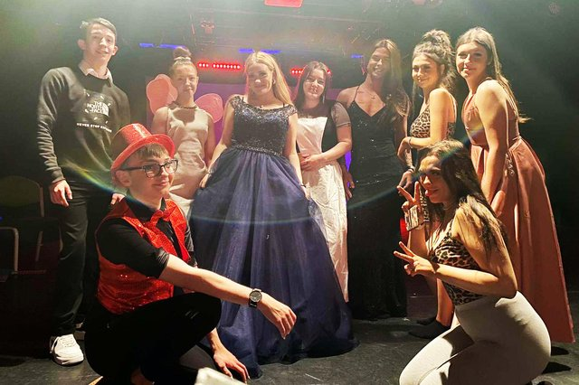 West Notts College students in their panto costumes.