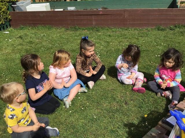 Children at Cherubs Nursery in Edwinstowe practiced meditation as part of Mental Health Week