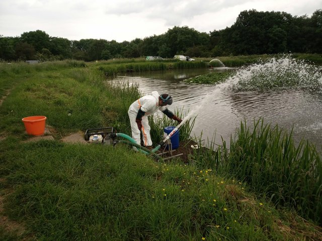Efforts are made to re-oxygenate Wellow Dam were hundreds of dead fish were found.