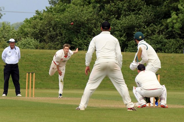 Welbeck bowler Richie Bentley in action against Farnsfield CC in the Nottinghamshire Premier League.