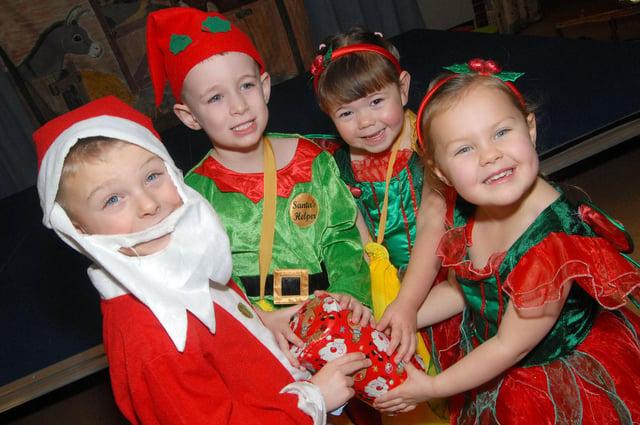 Priestsic School's nativity. Santa and some of his elves are Bobby Joe Haynes, Harrison Praass, Katie Waring and Mischa Billings.