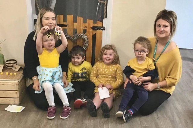 The children and staff dressed in black and yellow for World Bee Day