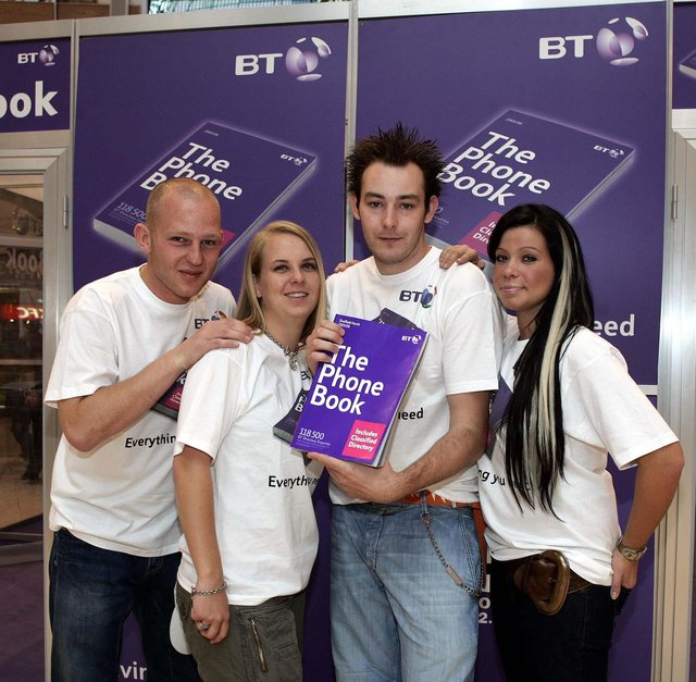 """Picture shows Local Contestants , L to R,  Lee Machen from Barnsley South Yorks, Aimee Dowing from Doncaster, Patrick Ahern, from Mexborough,  Leannne Paterson  from Doncaster, who will compete against each other by living in a box In the Phone Book from BT""""S Living by the Book, at the Oasis in Meadowhall Sheffield"""