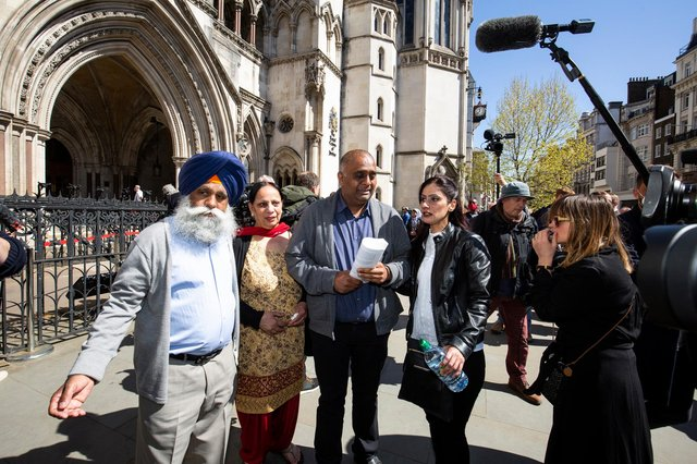 Harjinder and family outside the Court of Appeal on Friday. Picture from Hudgell Solicitors.