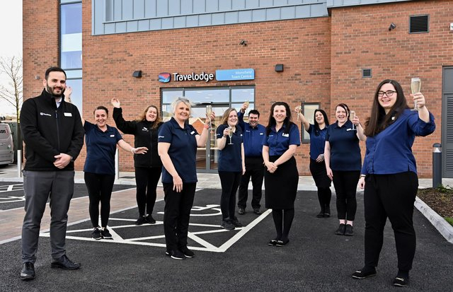 Staff celebrate as the new Travelodge opens at Mansfield