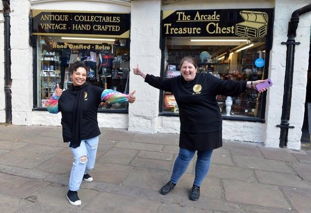Rowena Bratescu and Lois Thomas at The Arcade Treasure Chest.