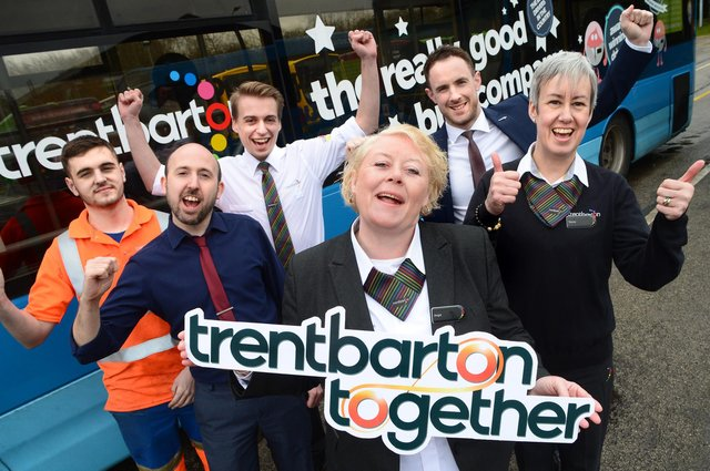 Team members celebrate the return of Trentbarton Together, from left,  Luke Fitzgerald, Matt Newton, Mat Simmons, Angie Cooper, Tom Morgan and Tracey Pemberton