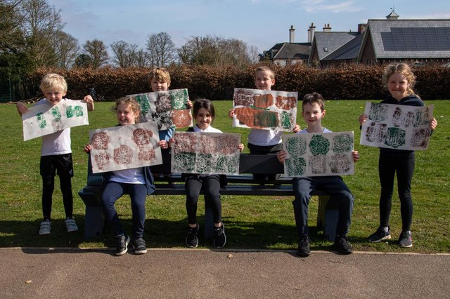 Children from St Mary's Church of England Primary School created printed artwork using pigments they mixed from natural materials.