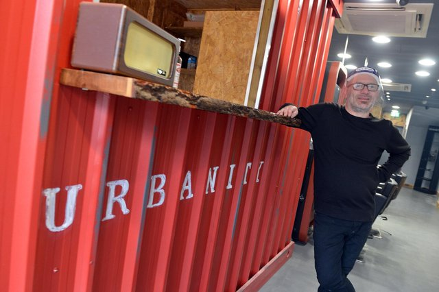 Urbanity hairdressers West Gate Mansfield.  Chris Story pictured in his new salon.