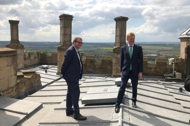 Oliver Dowden, right, Secretary of State for Digital, Culture, Media and Sport, was invited to Bolsover Castle by the area's MP, Mark Fletcher.