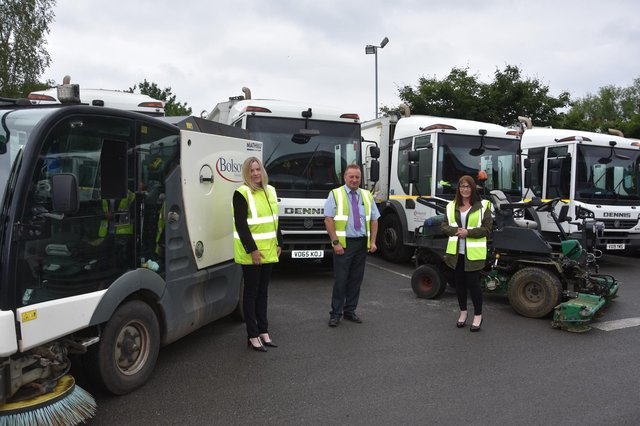 Pictured is Karen Hanson, Bolsover District Council's director of environment and enforcement, Steve Brunt, head of service for streetscene, and Coun Deborah Watson, cabinet member for streetscene.