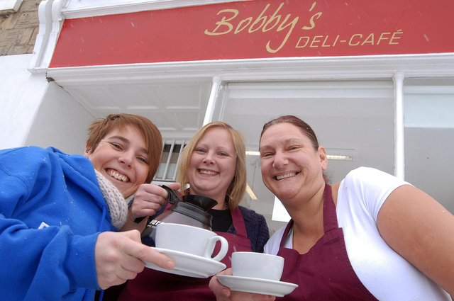Rachel Fish, manager Emma Waterfield and Lynn Haystead at Bobby's Deli Café on Littleworth  in 2010.