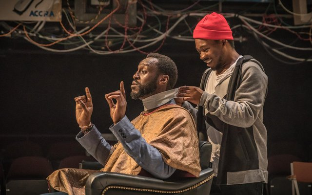 Fisayo Akinade and Sule Rimi in Barber Shop Chronicles.