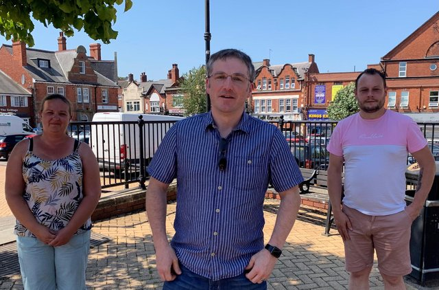 Councillors Samantha Deakin, Matt Relf and Jason Zadrozny in Sutton Town Centre in Summer 2020 after posting the bid