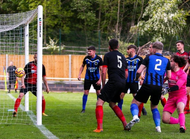 Carter Widdowson (No. 2) scoring Sherwood Colliery's second goal in a 2-0 win v. Ollerton Town on Saturday.