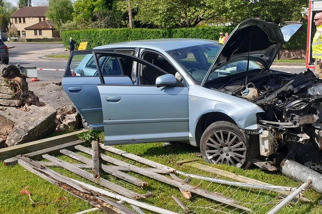 The scene of the car crash crash in Church Warsop on Monday. Photo: Nottinghamshire Fire & Rescue.