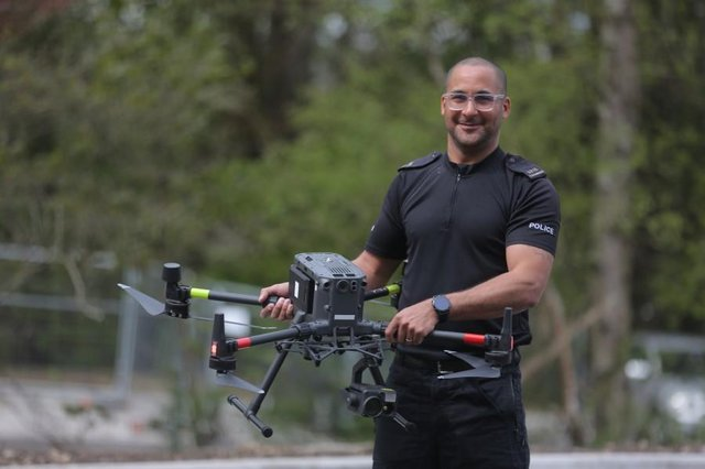 Chief Pilot PC Vince Saunders with the DJI Matrice 300