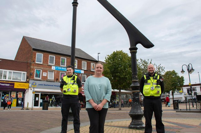 Councillor Sam Deakin in Sutton town centre with Ashfield District Council protection officers. Photo: Ashfield District Council.