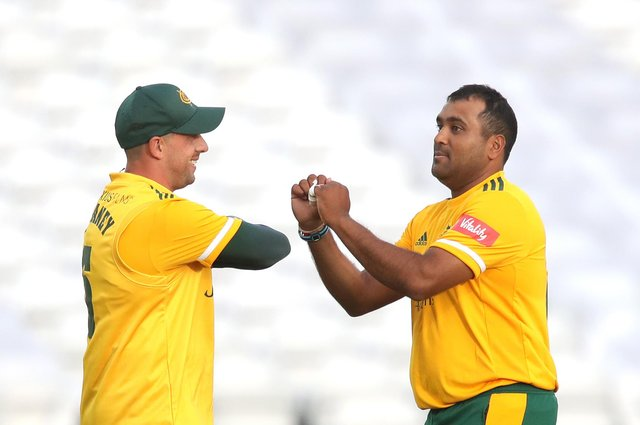 Samit Patel became the first player to take 100 T20 wickets at Trent Bridge on a night of records. (Photo by Alex Pantling/Getty Images)