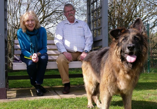 Bella, who was rescued from the River Trent in Nottinghamshire, with Maggie Mellish and Charlie Douglas. PHOTO: RSPCA/SWNS.