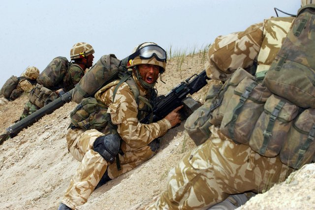 Soldiers in action on the frontline in Iraq.