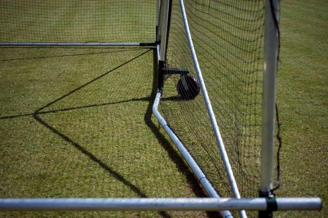 One of the damaged nets at Edwinstowe Cricket Club.