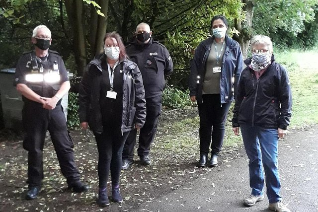 Officers were joined byNewark & Sherwood anti-social team and Coun Penny Rainbowto tackle the issue of anti-social behaviour at the cemetery on Bishop's Drive in Southwell. Photo: Notts Police/Facebook