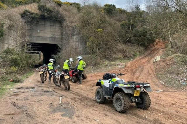 Off-road bikers are stopped by the Newark and Sherwood police team during Operation Reacher.