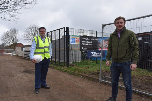 Paul Parkinson (council deputy chief executivel) and Coun Tom Hollis (council deputy leader) are pleased to see the council's housing stock being added to in Hucknall