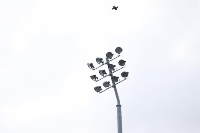The drone spotted flying above the floodlights at Mansfield Town's match last night. (PHOTO BY: Craig Brough/AHPIX LTD)