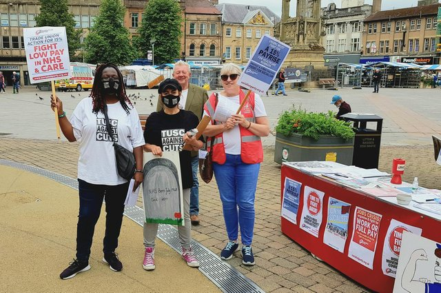 Mansfield health workers and supporters were out in force in thetown centre at the weekend calling for support ina national day of protest over low pay, cuts and privatisation.