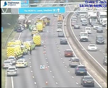 The scene of the crash on the M1.