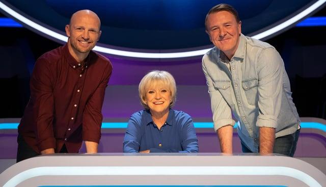 Question of Sport stars Matt Dawson, Sue Barker and Phil Tuffnell