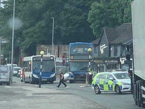 A school bus and a van were in collision in Mansfield Woodhouse on Monday morning. Photo: Charlie Proctor.