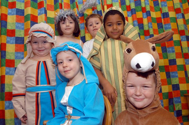 Some of the cast members of St Peters Church of England School's Nativity Play.  Pictured back, from left, are Joseph (Josh Turner), Star (Hannah Carr), Gabriel (Oliver Bloodworth) and Shepherd (Jacob Asuman). At the front are Mary (Leah Adam) and Donkey (Troon Dennington)