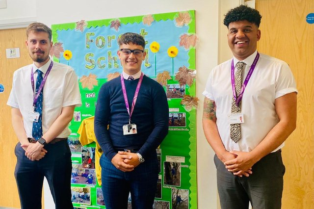 Jacob Ward (centre) is pictured with assistant Tom Few (left) and executive headteacher Clive Lawrence