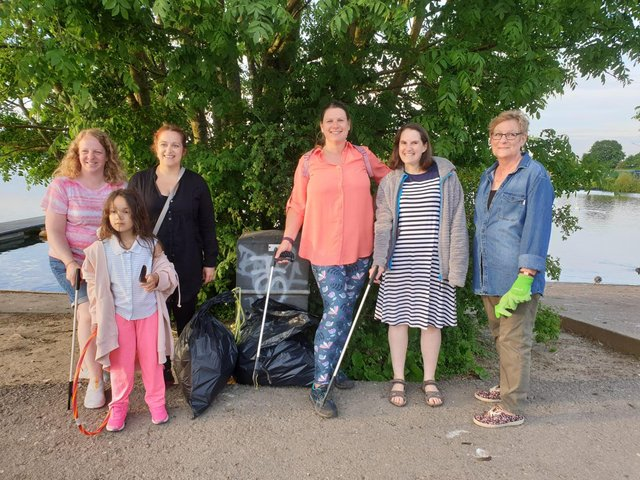 Mansfield Marians WI, who went to King's Mill Reservoir and collected two bags of rubbish on their walk around the water.