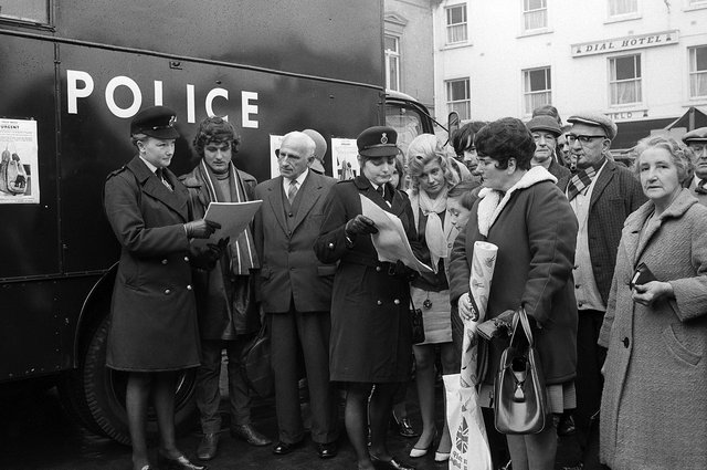 Mansfield Police in the market place in 1970