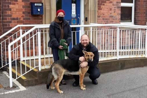 Relieved owner Helen Firth is reunited with her German Shepherd dog Seth at Ollerton Police Station. Photo: Notts Police.