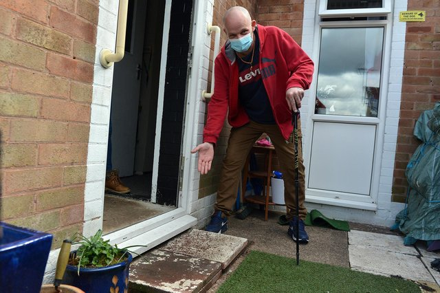 Desperate tenant Harry Smith outside the front door of his Mansfield home where he had his fall.