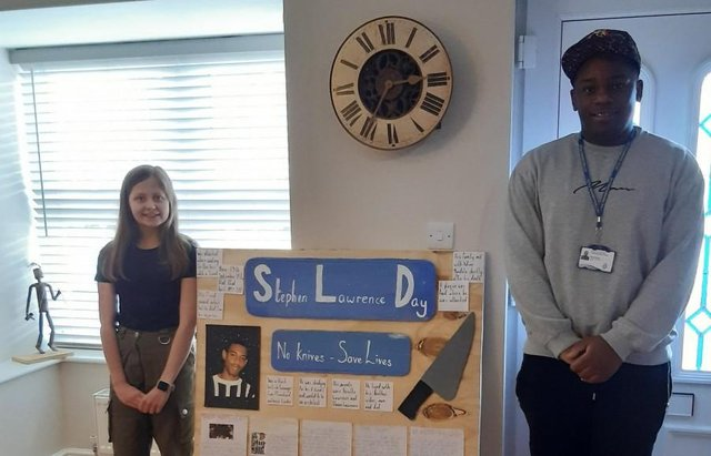 Year 9 pupil at Ashfield Academy Annabel Boot won an award for her poster commemorating Stephen Lawrence's life.